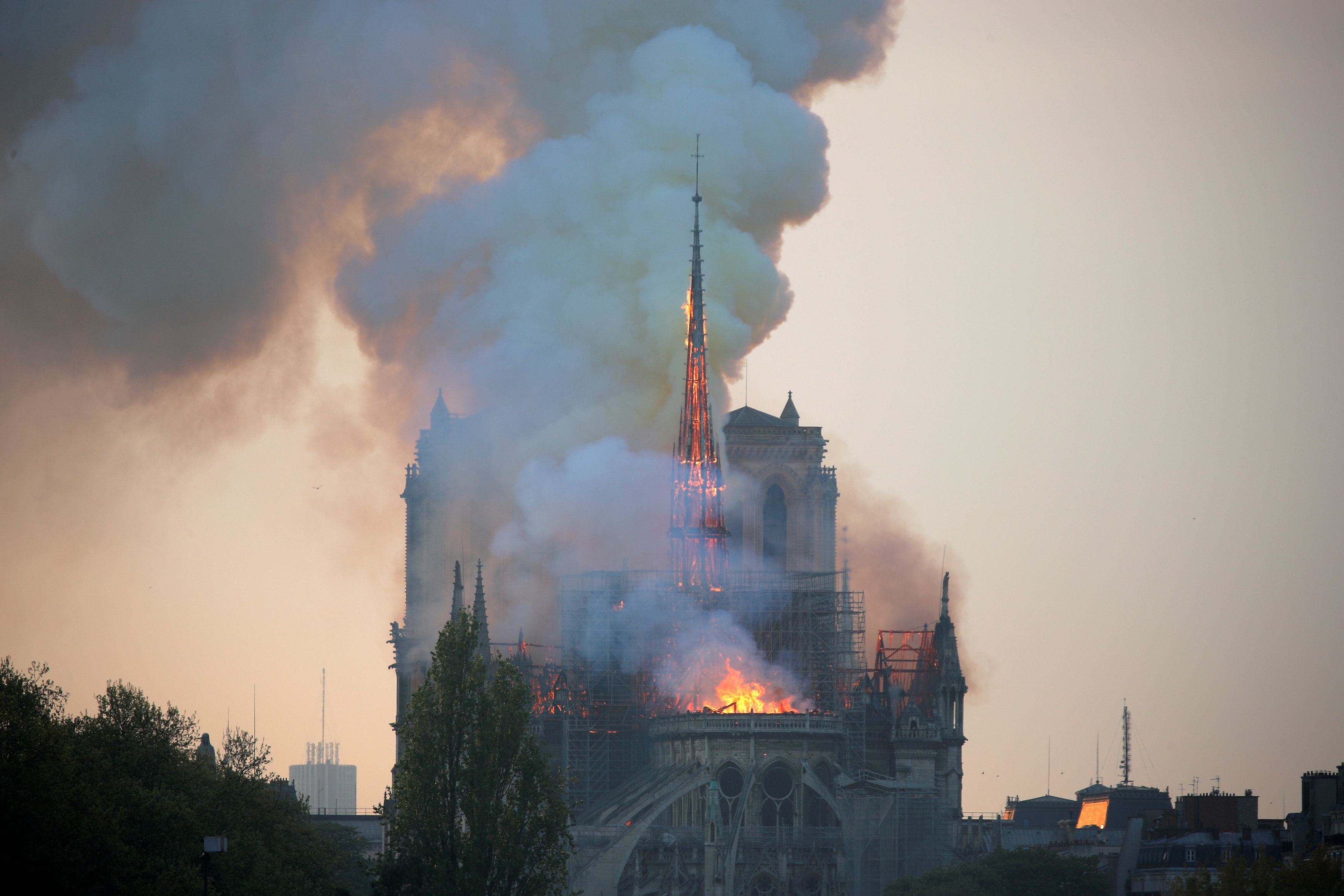 Array - famed notre dame cathedral in paris ablaze   photo gallery   the dialog  rh   thedialog org