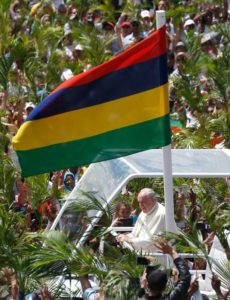 Pope Francis greets in Mauritius
